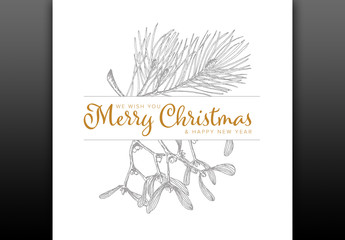 Christmas Card Layout with Handdrawn Illustrations