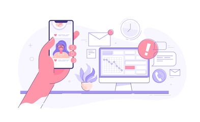 Worker is surfing photos on his phone on social media while seated at his desk behind his computer,. Procrastination and laziness concept. Vector illustration.