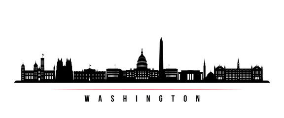 Washington city skyline horizontal banner. Black and white silhouette of Washington city, Netherlands. Vector template for your design.