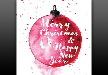 Christmas Card Layout with Watercolor Elements
