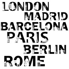 City names in words in black color with the  places of interest. London, Madrid, Barcelona, Paris, Berlin, Rome.