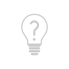 Glühbine mit Fragezeichen - Icon, Symbol, Piktogramm, grafisches Element - outline - - Hintergrund weiß - Vektor