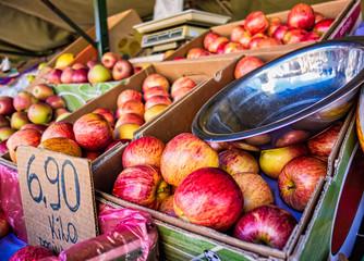 Apples at a free street fair in Brazil