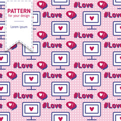 Computer monitor with heart seamless pattern background. Cute flat illustration.