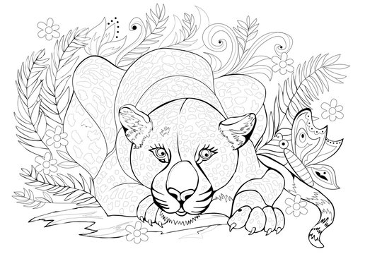 Black and white page for coloring book. Fantasy drawing of beautiful cheetah in the jungle. Pattern for print and embroidery. Worksheet for children and adults. Vector image.