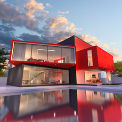 Modern house red and black