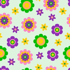 Seamless pattern with cute funny cartoon flowers and herbs. The good choice for childrens accessories, fabric and other. Vector illustration
