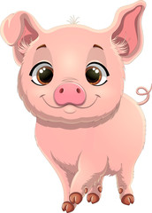 Vector illustration of cute pig. Pretty pig cartoon isolated on white background.  Pig cartoon character