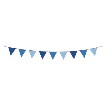 Blue Bunting Banner - Shades of blue bunting banner hung on gray string