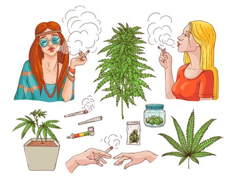 Vector cannabis smoking sketch collection. Hippie girl with weed joint, hemp spliff, young woman with cigarette, marijuana plant in pot, buds in package, hands with bong. Isolated illustration