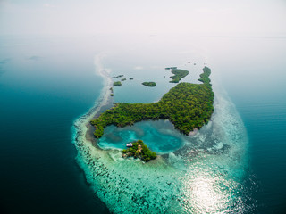 High angle view island in ocean