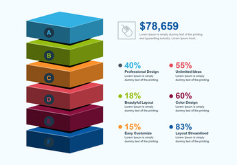 3D Block Stack Infographic Layout