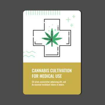Cannabis cultivation for medical use vertical banner with line icon of medicinal cross with marijuana leaf - isolated vector illustration of legalization and pharmacy use of hemp concept.