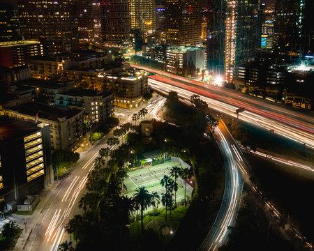 Aerial of an urban neighborhood at night