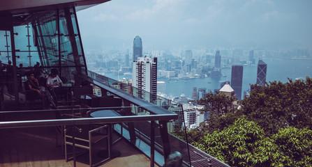 Restaurant at the top of Victoria Peak in Hong Kong Fototapete
