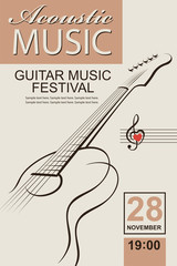 banner with guitar for acoustic music concert or festival