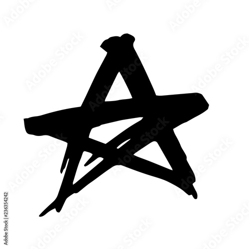 Star  Hand drawn paint object for design use  Abstract brush
