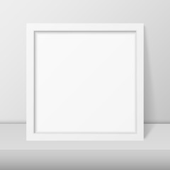 Vector 3d Realistic Modern Interior White Blank Vertical Square Wooden Poster Picture Frame on Table, Shelf Closeup on White Wall, Mock-up. Empty Poster Frame Design Template for Mockup, Presentation