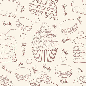 Cakes and cookies seamless pattern in outline sketch style - beautiful background with brown hand drawn outline bakery products. Tender texture with sweet desserts with fruits and berries.