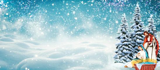 Nativity scene. Christmas background