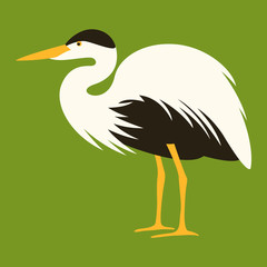 cartoon heron ,vector illustration, profile