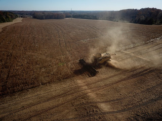 Farmer Lucas Richard of LFR Grain harvests a crop of soybeans at a farm in Hickory