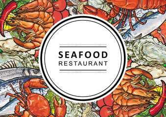 Vector seafood restaurant, cafe logo, advertising poster with square underwater animals delicacy pattern. Marine composition with shrimps, meat steak, trout, mussels and crayfish with vegetables