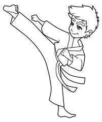 Full length line art illustration of skilled boy exercising balance and flexibility during karate stance against white background for copy space.