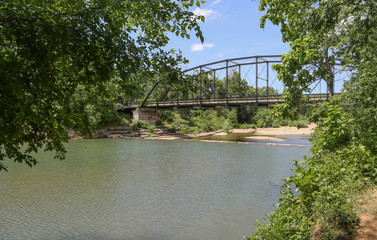 Bridge Over River With Trees