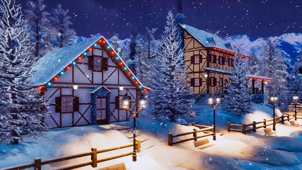 Cozy snow covered alpine town high in snowy mountains with illuminated half-timbered houses at magical winter night during snowfall. With no people 3D illustration.
