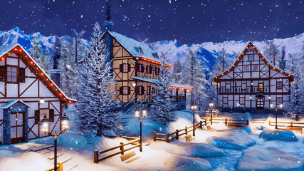 Cozy snow covered alpine mountain town with traditional half-timbered rural houses and christmas lights at winter night during snowfall. With no people 3D illustration. Wall mural