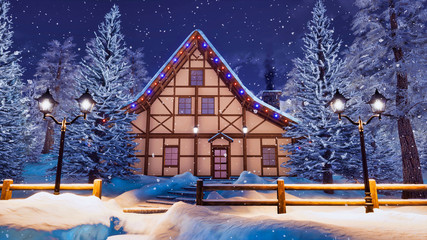 Peaceful winter scenery with cozy illuminated half-timbered rural house among snow covered fir trees at wintry night during snowfall. With no people 3D illustration.