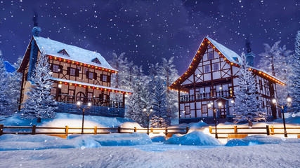 Cozy snowbound alpine mountain town with traditional european half-timbered houses and christmas lights at snowfall winter night. With no people 3D illustration.