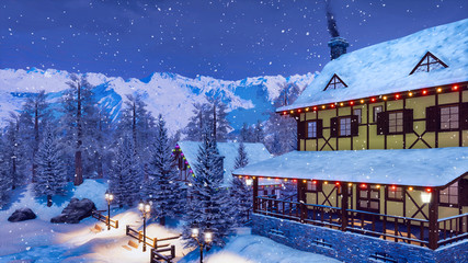 Wall Mural - Traditional european half-timbered rural house illuminated by christmas lights high in snowy alpine mountains at snowfall winter night. With no people 3D illustration.