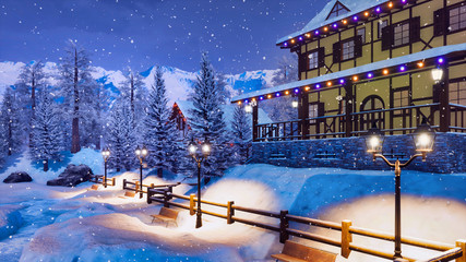 Wall Mural - Mountain ski resort in highland alpine village with snow covered illuminated half-timbered house at winter night during snowfall. With no people 3D illustration.