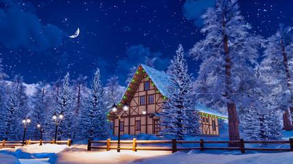 Wall Mural - Dreamlike winter landscape with cozy snowbound half-timbered rural house among snow covered fir trees high in alpine mountains at serene starry night. 3D illustration.