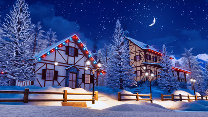 Wall Mural - Cozy snow covered alpine town high in snowy mountains with illuminated half-timbered houses at magical winter night with half moon in starry sky. 3D illustration.