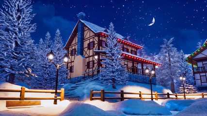 Wall Mural - Illuminated half-timbered european rural house among snow covered fir trees at calm winter night with half moon in starry sky. With no people 3D illustration.