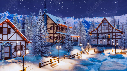 Wall mural Cozy snow covered alpine mountain town with traditional half-timbered rural houses and christmas lights at winter night during snowfall. With no people 3D illustration.