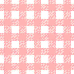Seamless vector plaid, check pattern pink and white. Design for wallpaper, fabric, textile, wrapping. Simple background