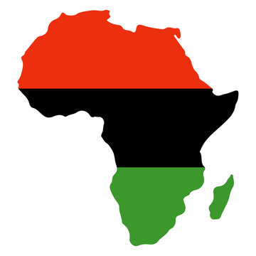 Africa Silhouette in Kwanzaa Colors - African continent silhouette in red, black, and green colors of Kwanzaa