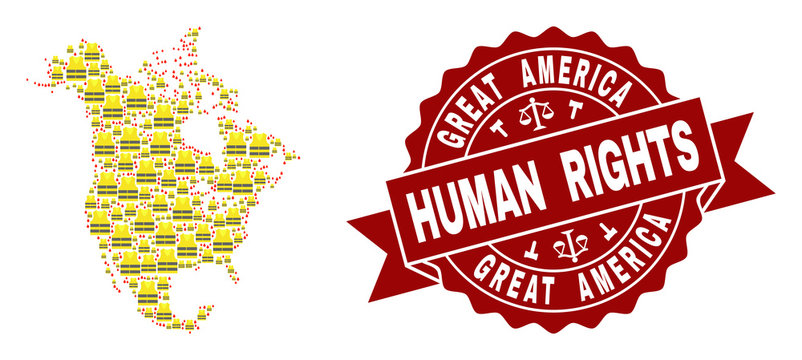 Human rights composition of yellow vest map of North America and seal stamp template. Map of North America collage created for Gilet Jaunes protest illustrations.