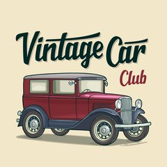 Retro sedan. Side view. Classic Car Club lettering. Flat illustration