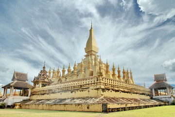 Pha That Luang in bright sky day. Vientiane, Laos