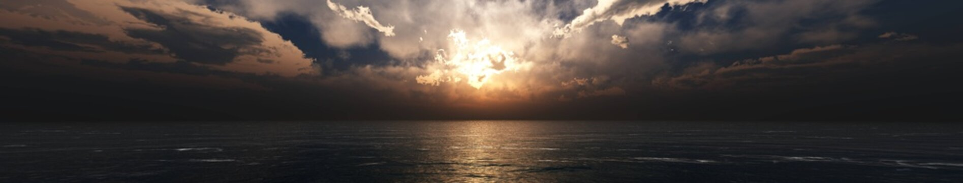 Thunderstorm clouds over the sea at sunset, panorama of a stormy sea,