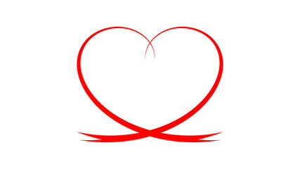 Ribbon in a shape of a heart. Red heart as a sign of love. Red graphic for a banner, an   advertisement or a website. Download and create a card for Valentine's Day