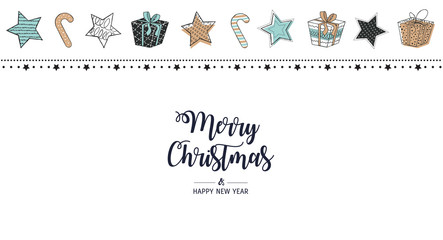 Modern greeting card Merry Christmas white background. Vector illustration with Christmas stars, gifts and Candy Cane.