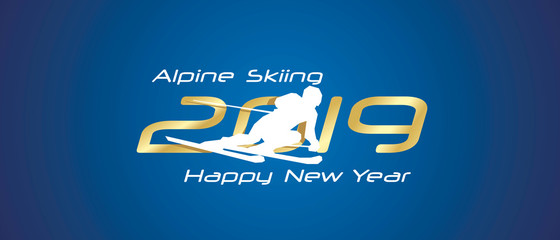 Alpine Skiing silhouette 2019 Happy New Year gold white logo icon blue background