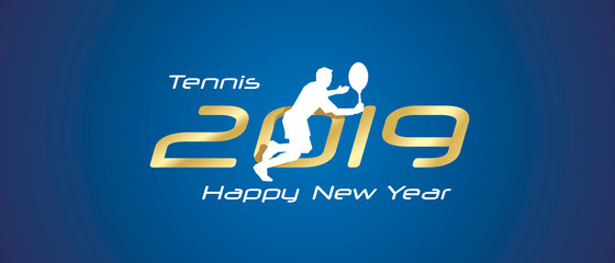 Tennis silhouette 2019 Happy New Year gold white logo icon blue background