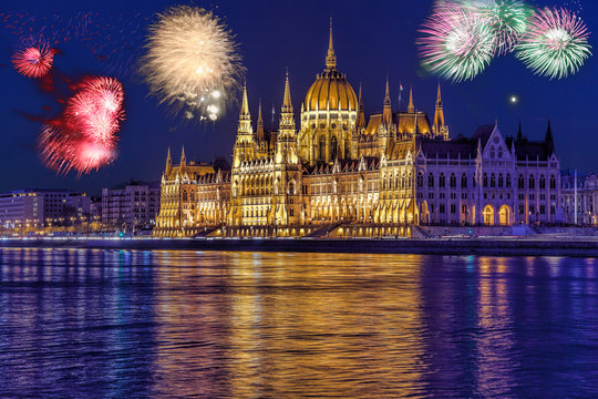 Parliament in Budapest with firework, celebration of the New Year, Hungary